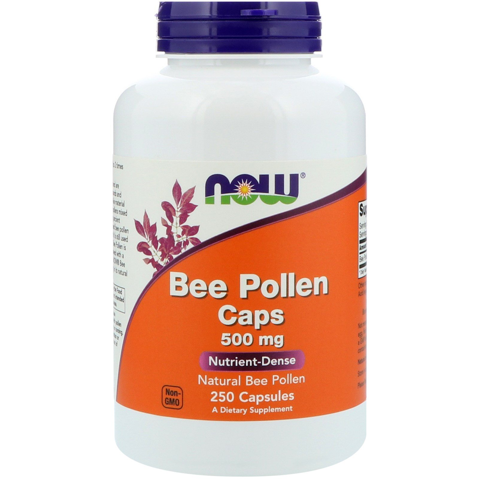 Now Foods, Bee Pollen Caps, 500 mg, 250 Capsules - iHerb