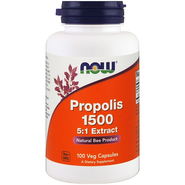 Now Foods, Propolis 1500, 300 mg, 100 cápsulas vegetarianas