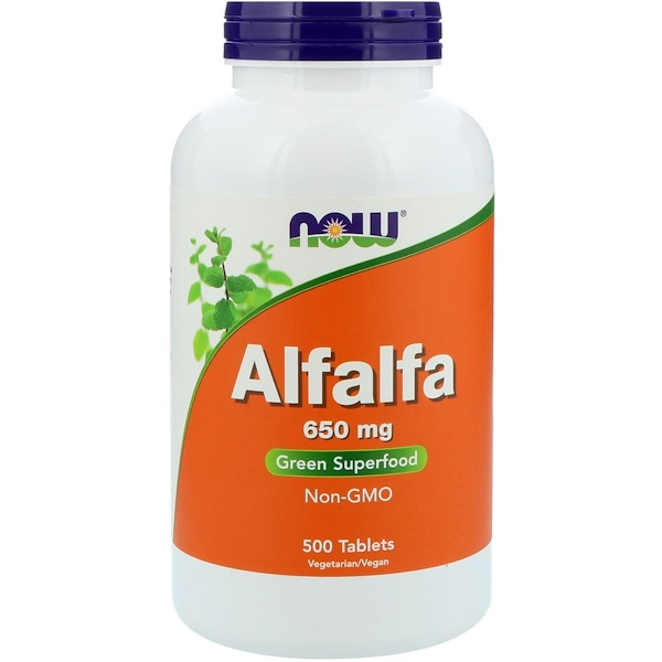 Now Foods, Alfalfa, 650 mg, 500 tabletas
