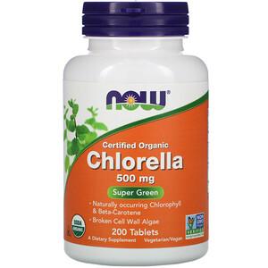 Now Foods, Certified Organic Chlorella, 500 mg, 200 Tablets отзывы покупателей