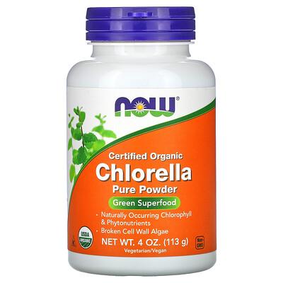 Купить Now Foods Сертифицированная органическая хлорелла, чистый порошок, 4 унц. (113 г)