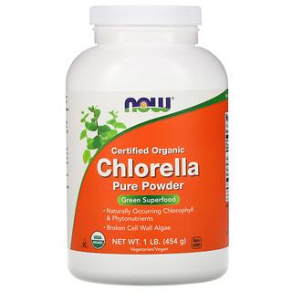 Now Foods, Certified Organic Chlorella, Pure Powder, biozertifiziertes Chlorellapulver, 454g (1lb)