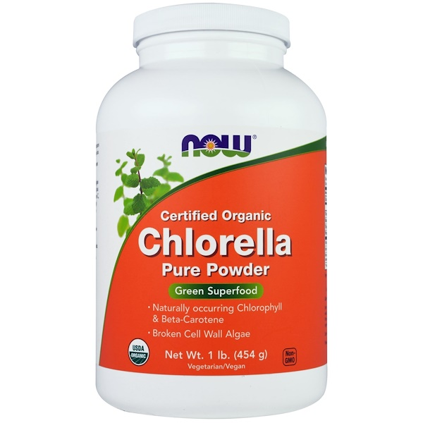 Now Foods, Certified Organic Chlorella, Pure Powder, 1 lb (454 g)
