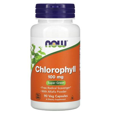 Купить Now Foods хлорофилл, 100мг, 90растительных капсул