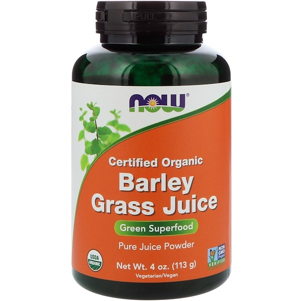 Now Foods, Certified Organic Barley Grass Juice, 4 oz (113 g)