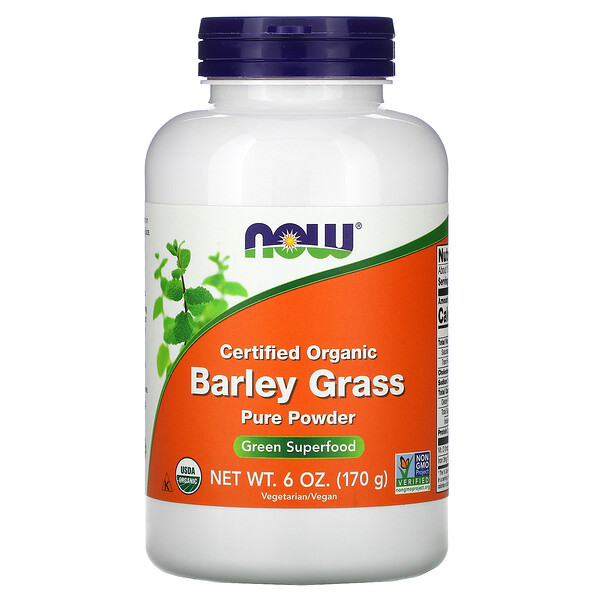 Now Foods, Certified Organic Barley Grass Pure Powder, 6 oz (170 g) (Discontinued Item)