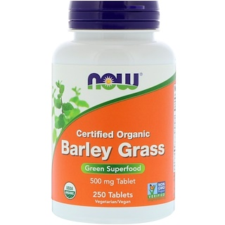 Now Foods, Certified Organic Barley Grass, 500 mg, 250 Tablets