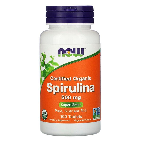 Certified Organic Spirulina, 500 mg, 100 Tablets