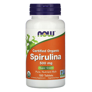Now Foods, Certified Organic Spirulina, 500 mg, 100 Tablets отзывы покупателей