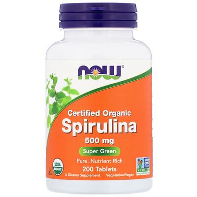 Купить Now Foods Сертифицированная органическая спирулина, 500 мг, 200 таблеток
