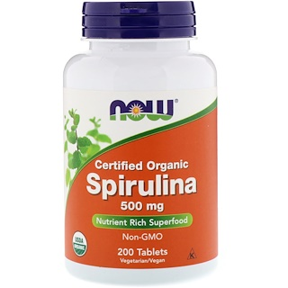 Now Foods, Zertifiziertes Bio-Spirulina, 500 mg, 200 Tabletten