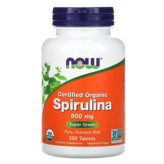 Now Foods, Certified Organic Spirulina, 500 mg, 200 Tablets