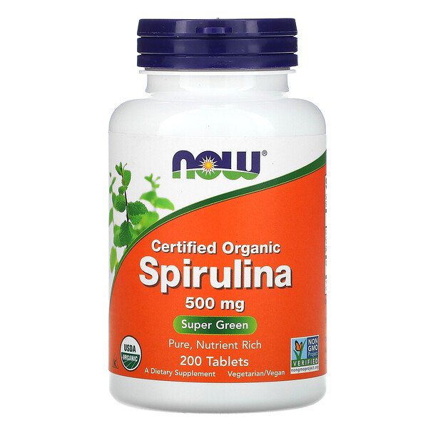 Certified Organic Spirulina, 500 mg, 200 Tablets