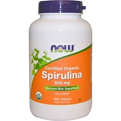 Now Foods, Certified Organic Spirulina, 500 mg, 500 Tablets