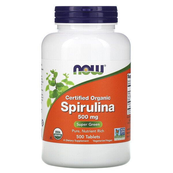 Certified Organic Spirulina, 500 mg, 500 Tablets