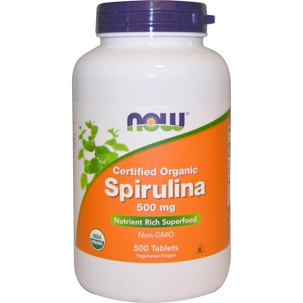 Now Foods, Espirulina con Certificado Orgánico, 500 mg, 500 Tabletas