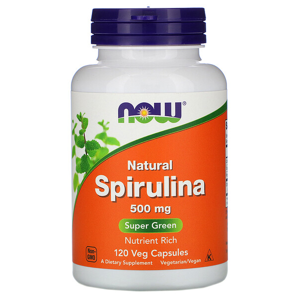 Natural Spirulina, 500 mg, 120 Veg Capsules