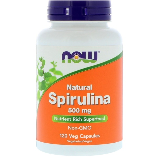Now Foods, Natural Spirulina, 500 mg, 120 Veg Capsules