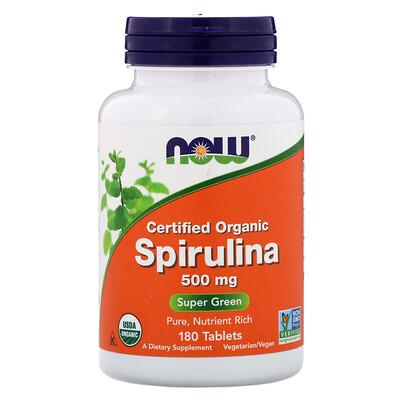 Сертифицированная органическая спирулина, 500 мг, 180 таблеток стоимость