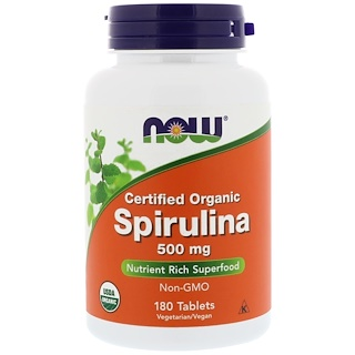 Now Foods, Zertifiziert biologische Spirulina, 500 mg, 180 Tabletten