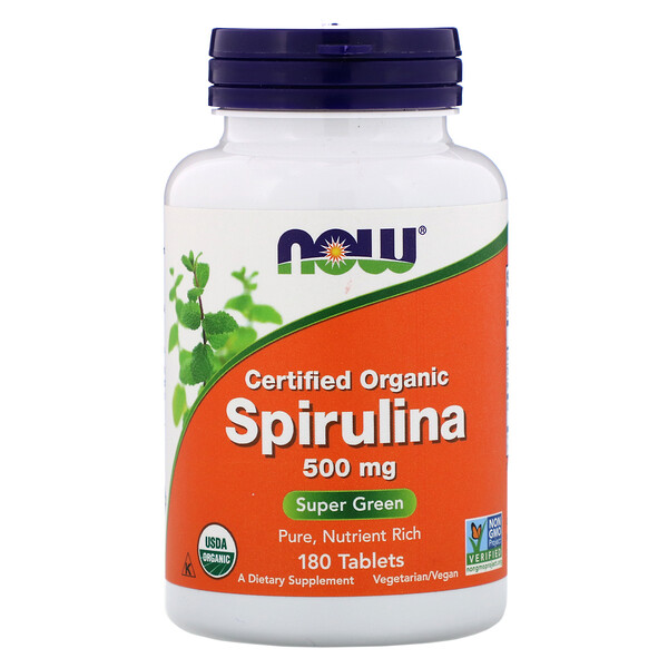 Now Foods, ナウフーズ, Certified Organic Spirulina, 500 mg, 180 Tablets (Discontinued Item)