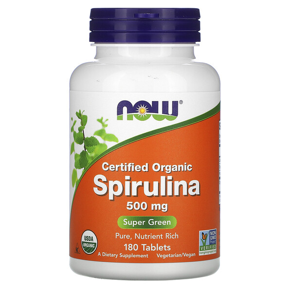 Now Foods, Certified Organic Spirulina, 500 mg, 180 Tablets