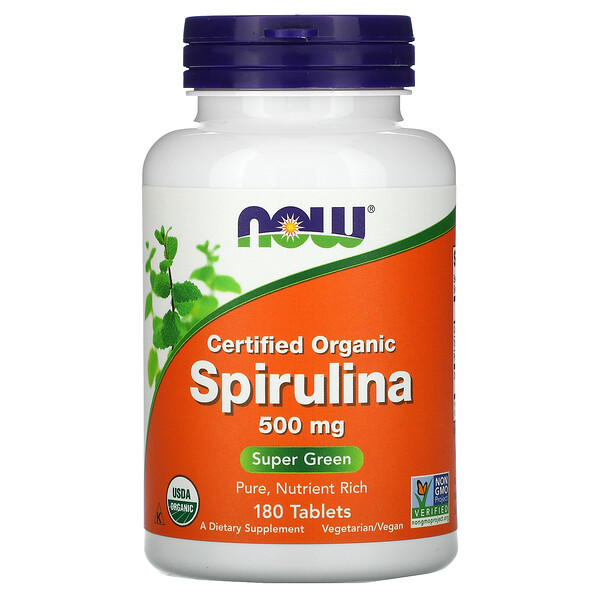 Now Foods, Certified Organic Spirulina, 500 mg, 180 Tablets (Discontinued Item)