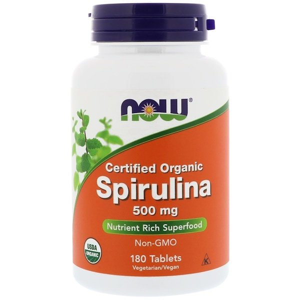 Now Foods, ナウフーズ, Certified Organic Spirulina, 500 mg, 180 Tablets