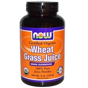 Now Foods, Organic, Wheat Grass Juice, 100 % Pure Juice Powder, 4 oz (113 g) отзывы