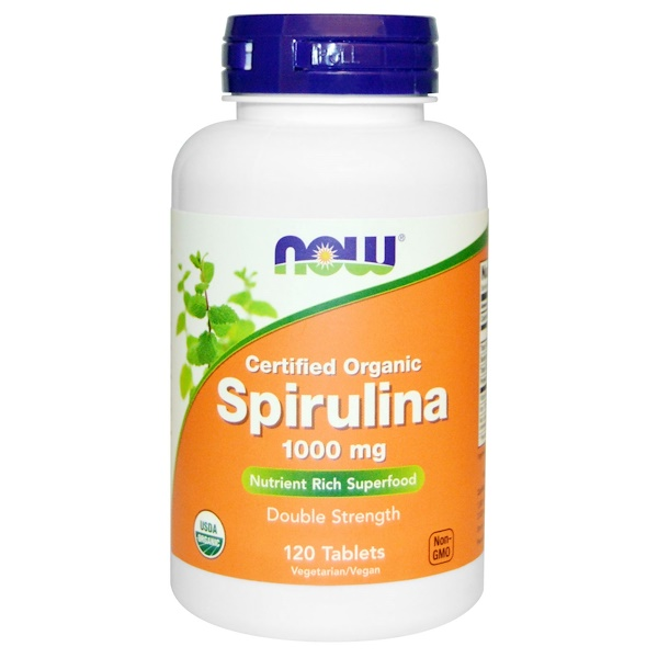 Now Foods, Certified Organic, Spirulina, 1000 mg, 120 Tablets