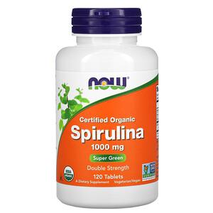 Now Foods, Certified Organic, Spirulina, 1000 mg, 120 Tablets отзывы покупателей