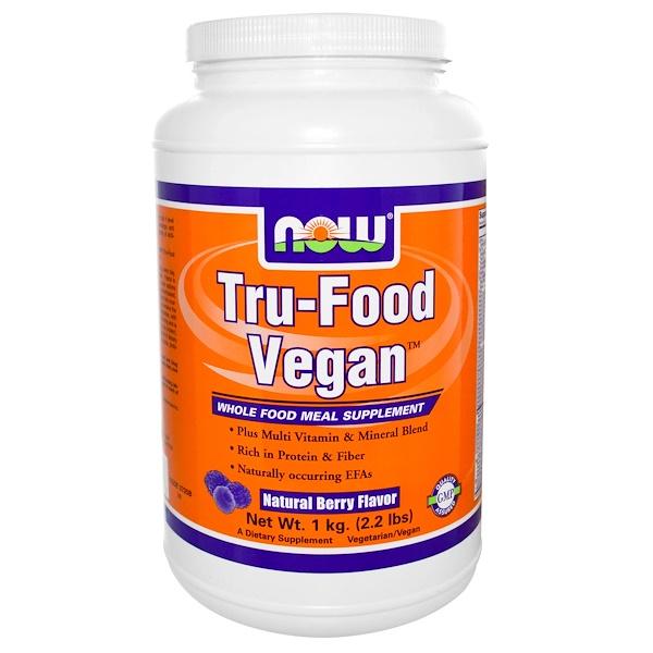 Now Foods, Tru-Food Vegan, Natural Berry Flavor, 2.2 lbs (1 kg) (Discontinued Item)
