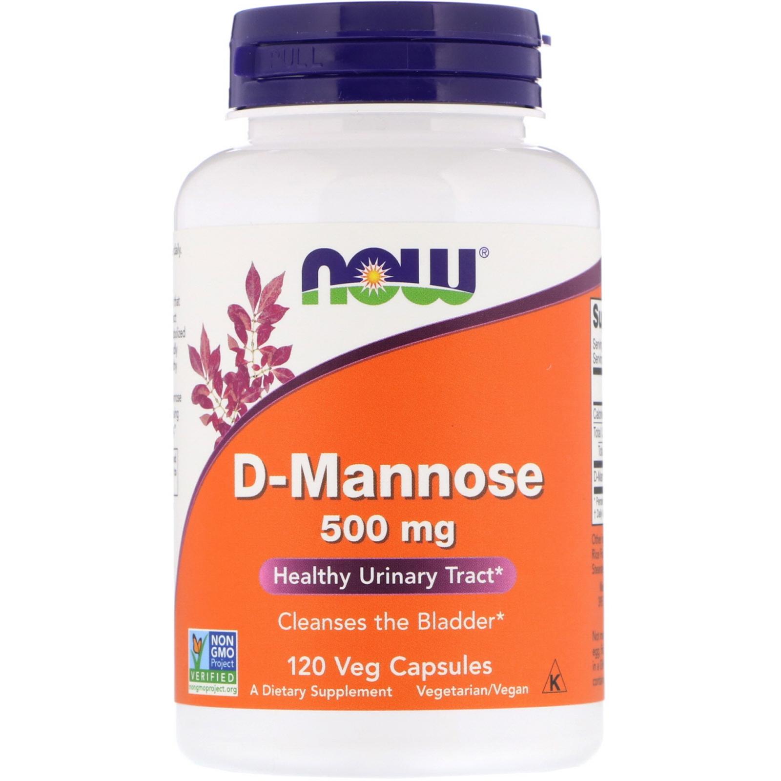 Now Foods, D-Mannose, 500 mg, 120 Veg Capsules - iHerb com
