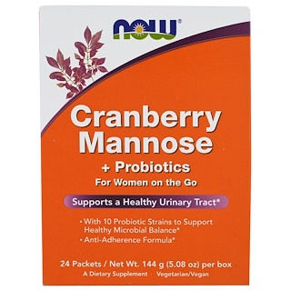 Now Foods, Cranberry Mannose + Probiotics, 24 Packets, (6 g) Each