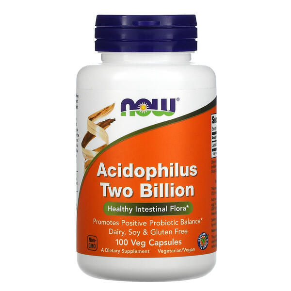 Now Foods, Acidophilus, Dos mil millones, Suplemento alimentario, 100cápsulas vegetales