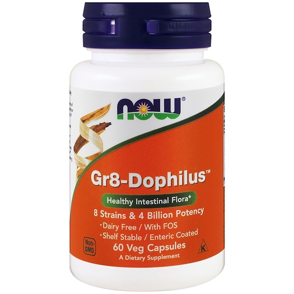 Now Foods,  Gr8-Dophilus, 60 كبسولة نباتية