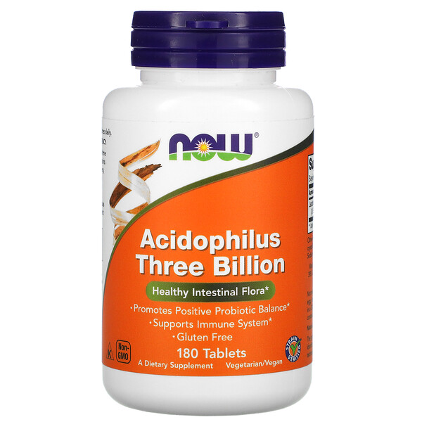 Now Foods, Acidophilus Three Billion, 180 Tablets