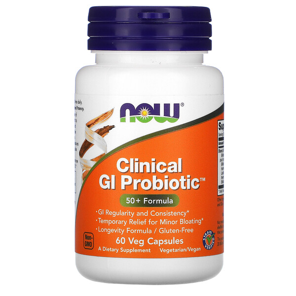Now Foods, Clinical GI Probiotic, 50+ Formula, 60 Veg Capsules