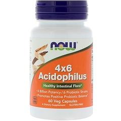 Now Foods, 4x6 Acidophilus, 60 растительных капсул