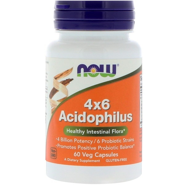 Now Foods, 4x6 Acidophilus, 60 cápsulas vegetales