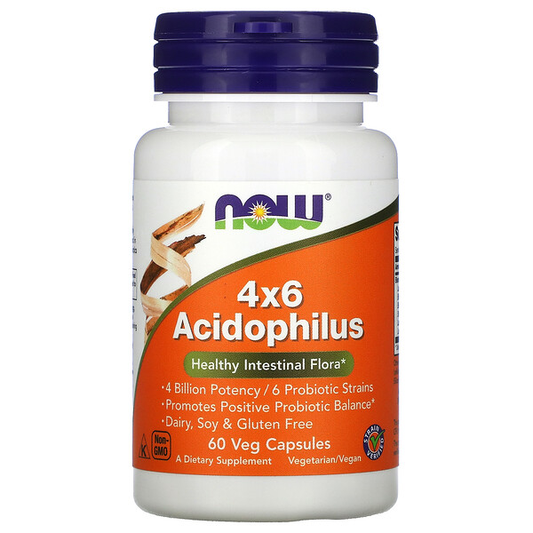 Now Foods, 4x6 Acidophilus 素食胶囊,60 粒装