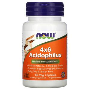 Now Foods, 4×6 Acidophilus, 60 Veg Capsules отзывы