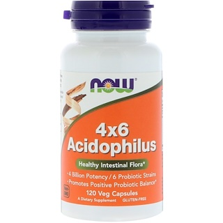 Now Foods, 4x6 Acidophilus, 120 Veg Capsules