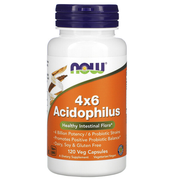 Now Foods, 4x6 Acidophilus 素食胶囊,120 粒装