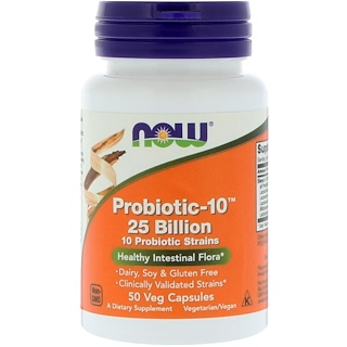 Now Foods, Probiotic-10, 25 milliards, 50 gélules végétales