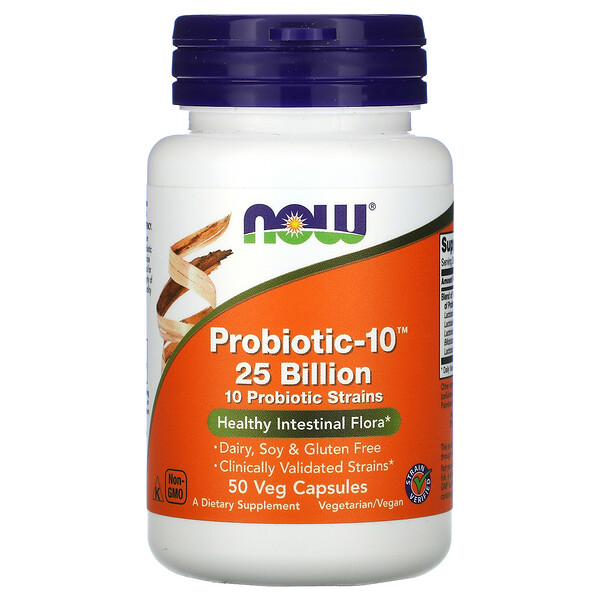 Now Foods, Probiotic-10‏، 25 مليارًا، 50 كبسولة نباتية
