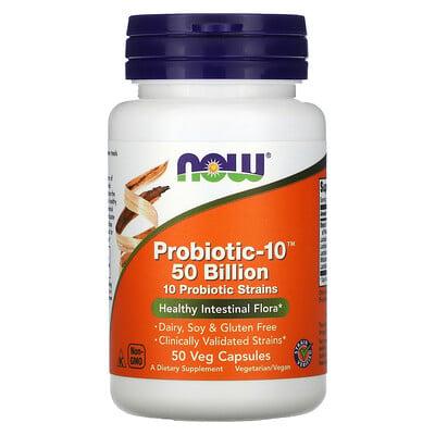 Купить Now Foods Probiotic-10, 50млрд, 50вегетарианских капсул