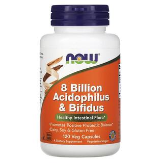 Now Foods, 80 亿 Acidophilus 和双叉乳酸杆菌素食胶囊,120 粒装