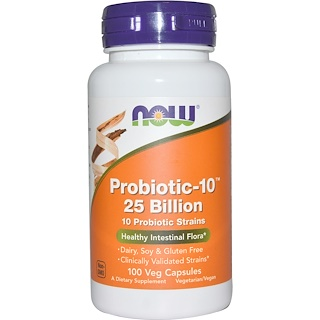 Now Foods, Probiotic-10 25 млн, 100 вегетарианских капсул