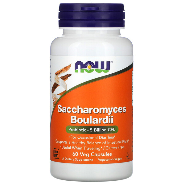 Now Foods, Saccharomyces Boulardii, Gastrointestinal Support, 60 Veg Capsules